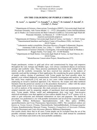 Aceto et al, ON THE COLOURING OF PURPLE CODICES