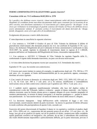 Cassazione civile sez. VI-3 ordinanza 04.02.2014 n. 2370 Se