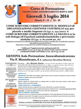 Corso Dubini del 3 luglio 2014 con scheda iscrizione