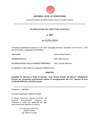 Deliberazione n. 167 del 22/01/2014, ad oggetto