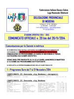 COMUNICATO UFFICIALE n. 20 bis del 28/11/2014