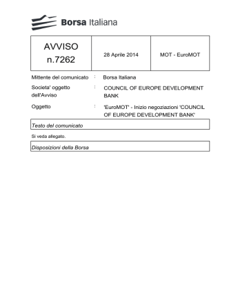 AVVISO n.7262 - Borsa Italiana