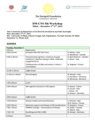 Agenda 5° Workshop DM-CNS
