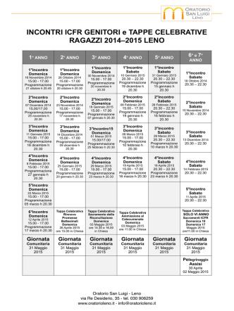 Calendario degli incontri e delle tappe celebrative per genitori ed