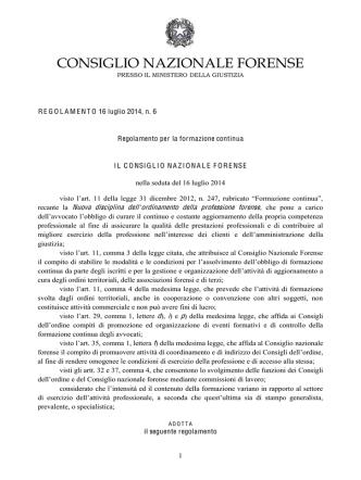 C.N.F., nuova formazione continua - Ordine degli Avvocati di Sanremo