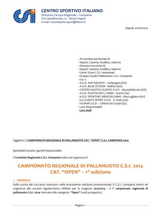 CAMPIONATO REGIONALE DI PALLANUOTO C.S.I.