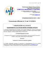 Comunicato Ufficiale - Figc - Comitato Regionale Toscana