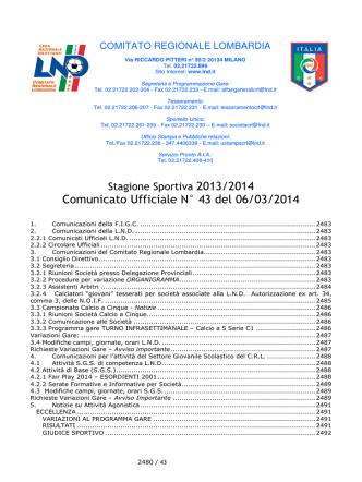 COMUNICATO N 43 CRL