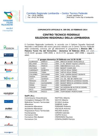 centro tecnico federale selezioni regionali della lombardia
