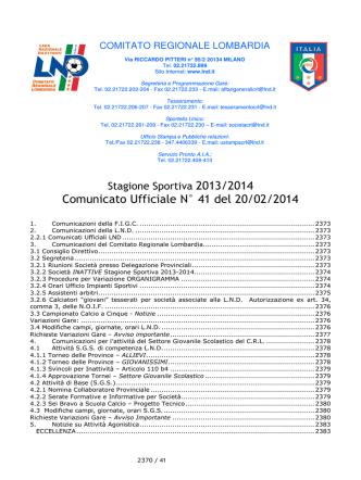 COMUNICATO N 41 CRL 1