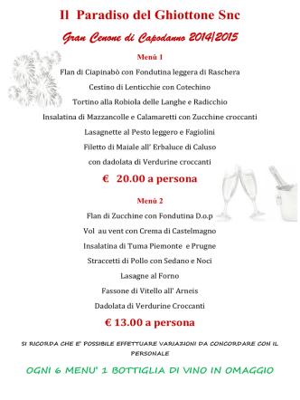 Capodanno 2014/2015 - Il Paradiso Del Ghiottone Snc