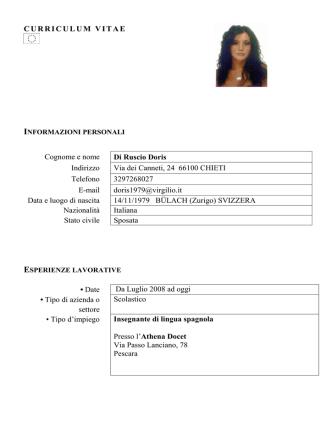 C.V. Dott.ssa Doris Di Ruscio