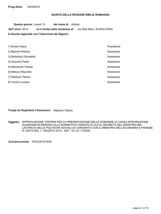 Delibera di GR n.1643 del 13/10/2014