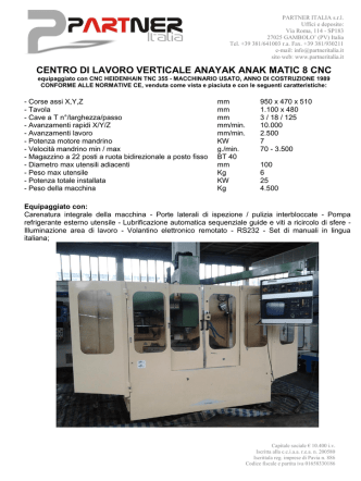CENTRO DI LAVORO VERTICALE ANAYAK ANAK MATIC 8 CNC