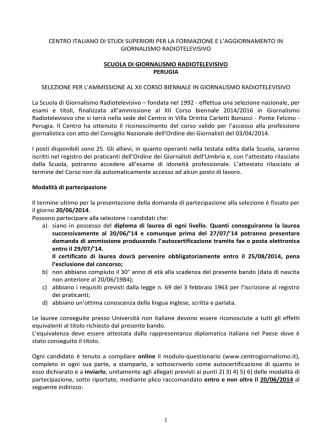 bando di selezione - Centro Formazione Giornalismo Radiotelevisivo