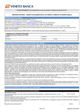 crediti documentari e lettere di credito standby (sblc)