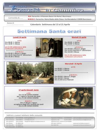 13-21 aprile 2014 - Parrocchia Maria Madre della Chiesa