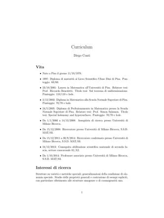 Curriculum - Seminari di Equazioni Differenziali e Sistemi Dinamici