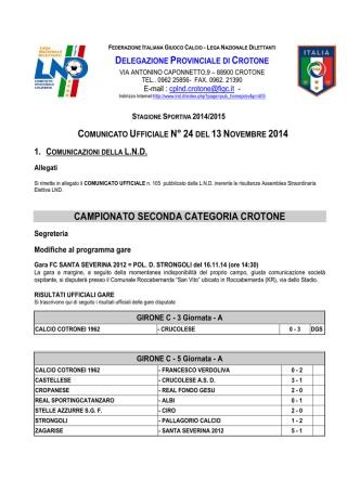 CU n. 24 del 14 novembre 2014 Crotone