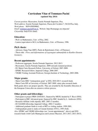 Curriculum Vitae of Tommaso Pacini