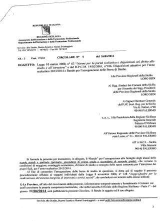 AH. 3 Prot 27122 CIRCOLARE N° S del 26/03/2014 OGGETTO
