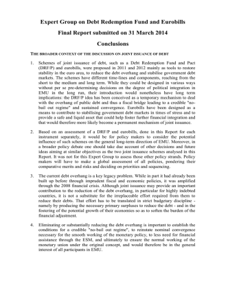 Conclusions of the expert group on a debt redemption fund and