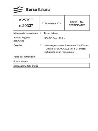 AVVISO n.20337 - Borsa Italiana
