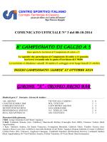 Calcio a 11 - Comunicato Ufficiale N. 3/2014-2015