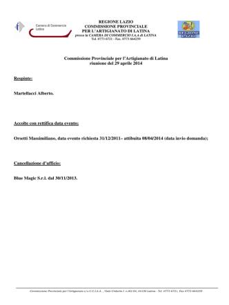 29 Aprile 2014 - Camera di Commercio di Latina
