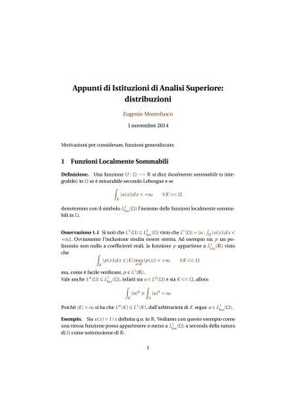 Appunti di Istituzioni di Analisi Superiore: distribuzioni