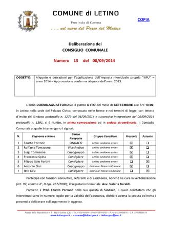 delibera aliquote imu - Amministrazioni Comunali