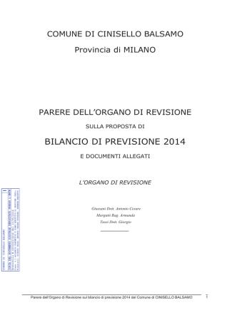 BILANCIO DI PREVISIONE 2014 - Comune di Cinisello Balsamo