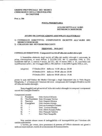 Consiglio Direttivo - Ordine dei Medici Chirurghi e degli Odontoiatri