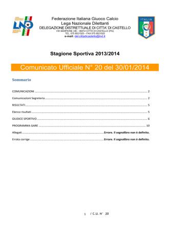 Comunicato Ufficiale N° 20 del 30/01/2014