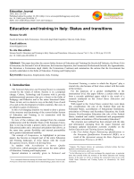 Education and training in Italy: Status and transitions