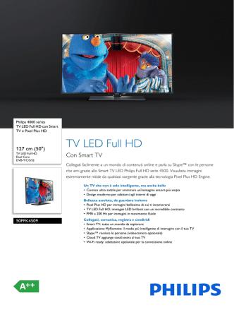 50PFK4509/12 Philips TV LED Full HD con Smart TV e Pixel Plus HD