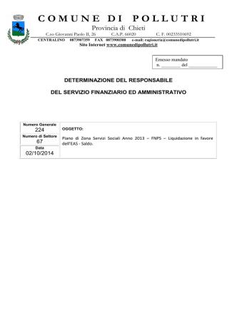 67-2014 Piano di Zona 2013- Liquidazione EAS- Saldo