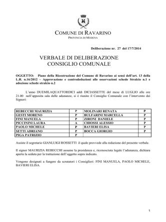 Delibera di Consiglio Comunale n. 27 del 17/07/2014