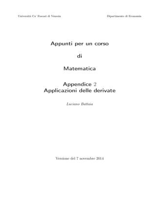 Appendice 2: Applicazioni delle derivate