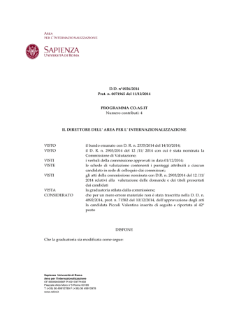 D.D. n°4926/2014 Prot. n. 0071965 del 11/12/2014