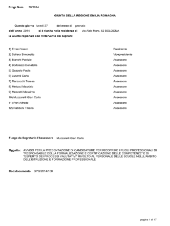 Delibera di GR. n. 70 del 27/01/2014