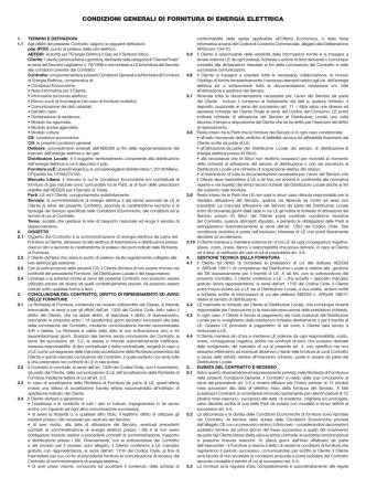 Condizioni Generali di Fornitura LUCE
