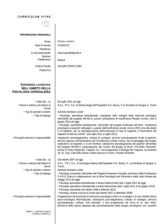 Curriculum Vitae - CampusNet - Università degli Studi di Torino