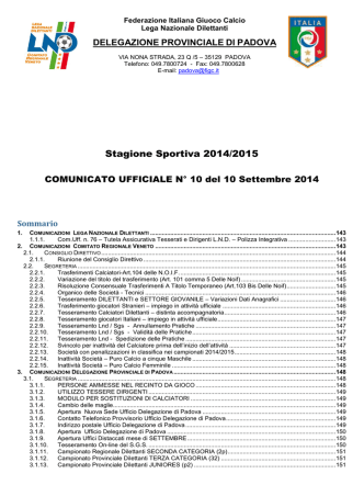 Comunicato n. 10 - Calcio Rubano USDC