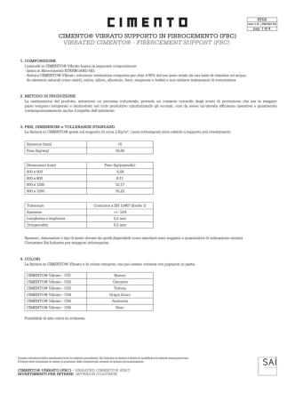 CIMENTO® VIBRATO SUPPORTO IN FIBROCEMENTO (FBC