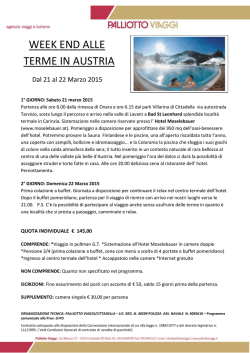 WEEK END ALLE TERME IN AUSTRIA