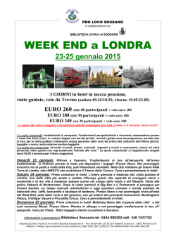 WEEK END a LONDRA - Comune di Sossano
