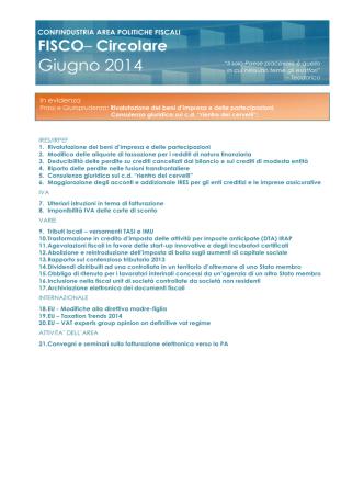 AREA FFW - FISCO Circolare Mensile Aprile 2011
