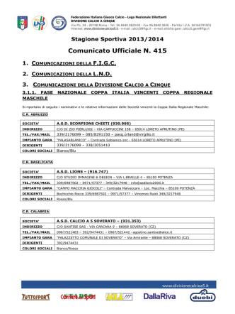 Comunicato Ufficiale 415