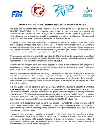 Comunicato Agonismo Stagione 2014/2015